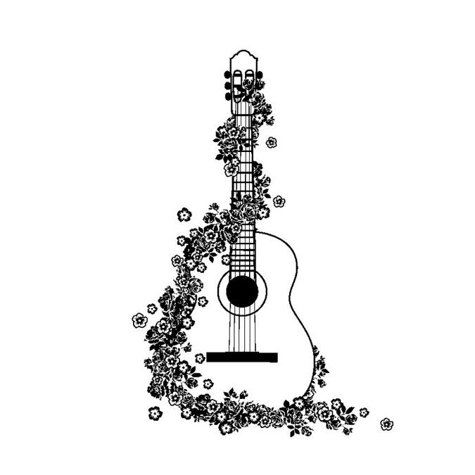 Tampon en bois guitare 5 x 7 cm