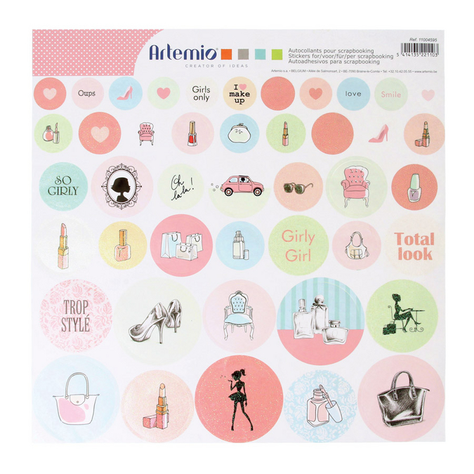 Stickers ronds Fashionista 30 x 30 cm