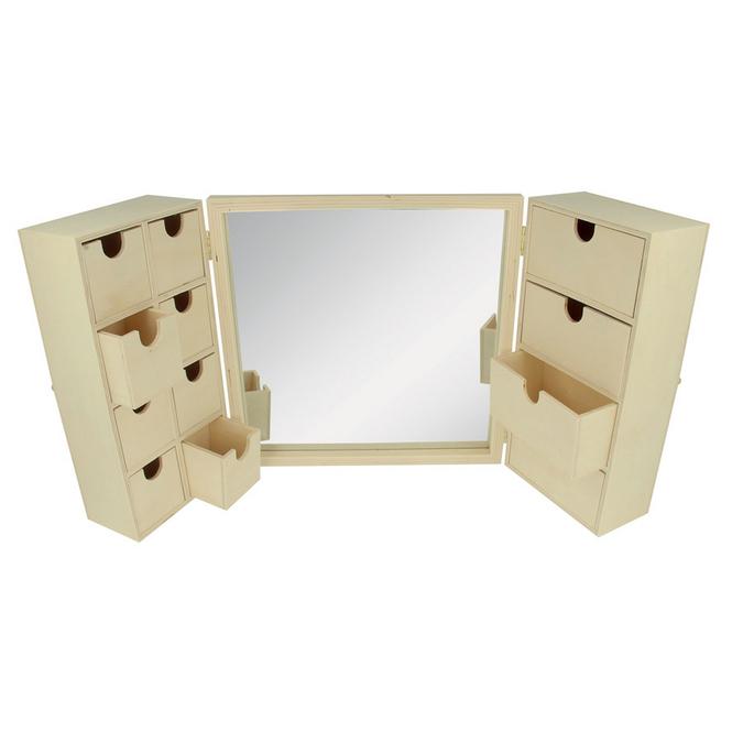 Meuble coiffeuse en bois + miroir 26 x 26 x 8 cm