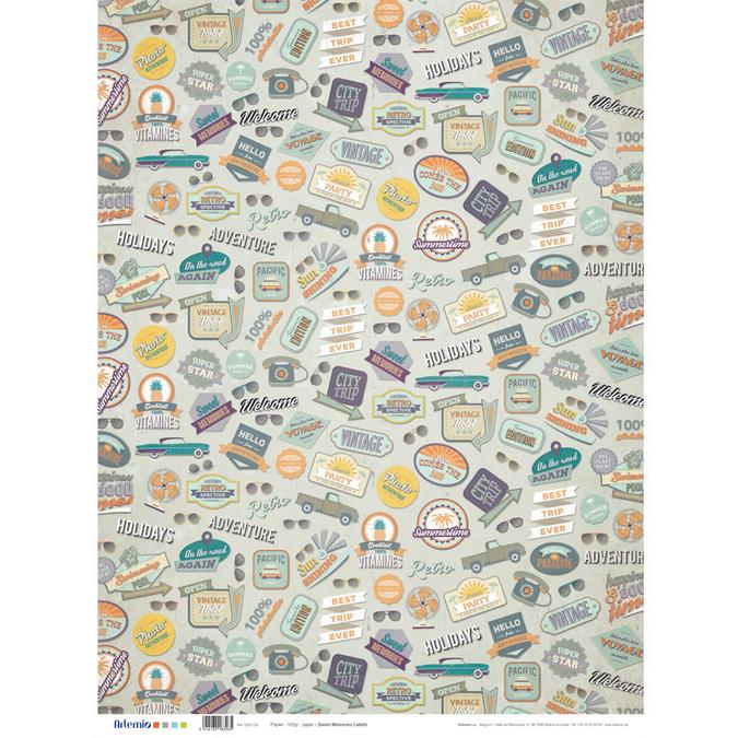 Papier étiquettes Sweet memories 50 x 70 cm