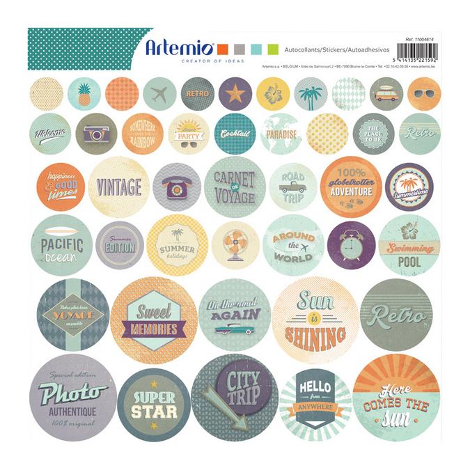 Stickers ronds Sweet memories 30 x 30 cm