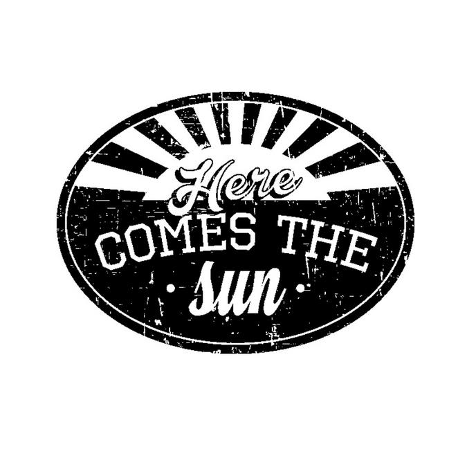Tampon en bois comes the sun 5,6 x 4,5 cm