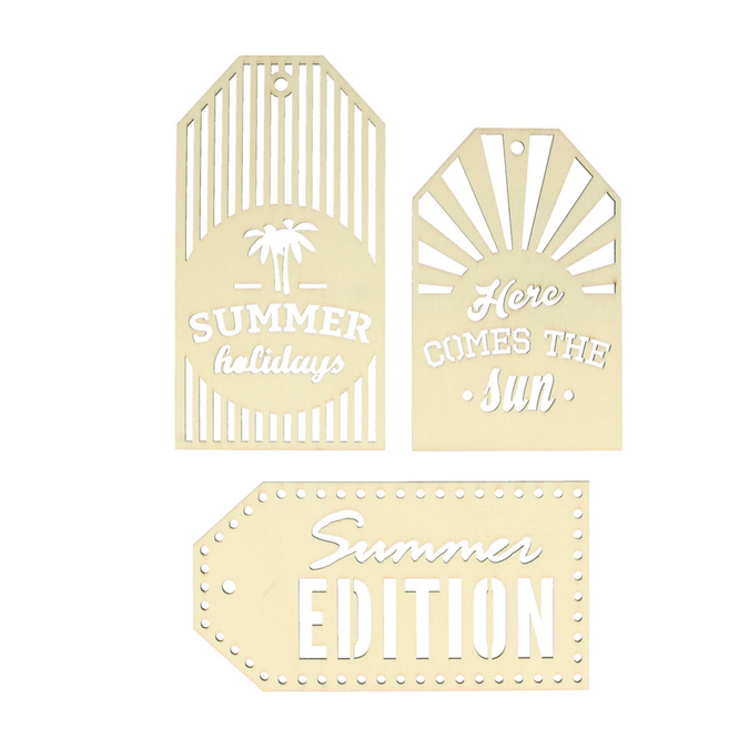 Etiquettes en bois Sweet memories summer x 3 pcs