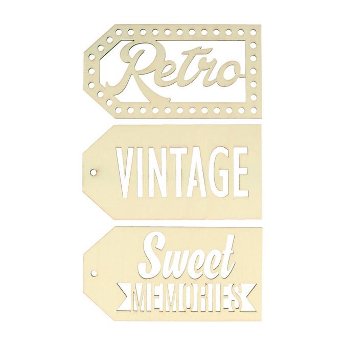 Etiquettes en bois Sweet memories vintage x 3 pcs