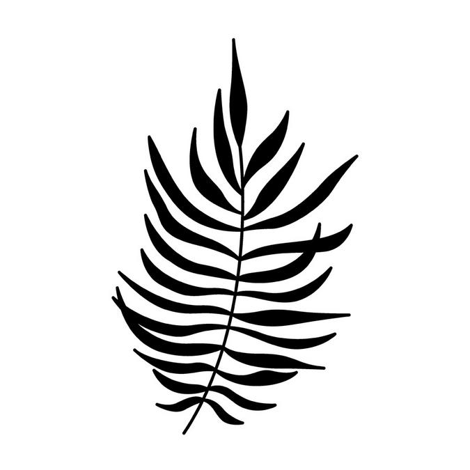 Tampon en bois feuille de fougère 4,5 x 7 cm