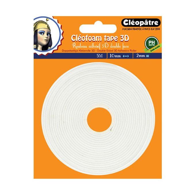Adhésif double-face 3D ep. 2 mm Cléofoam - 10 mm x 5 m