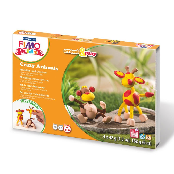 Kit de modelage Create & Play thème Crazy Animals singe et girafe