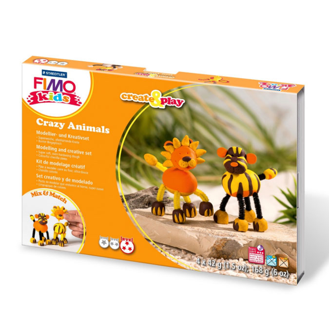 Kit de modelage Create & Play thème Crazy Animals lion et tigre