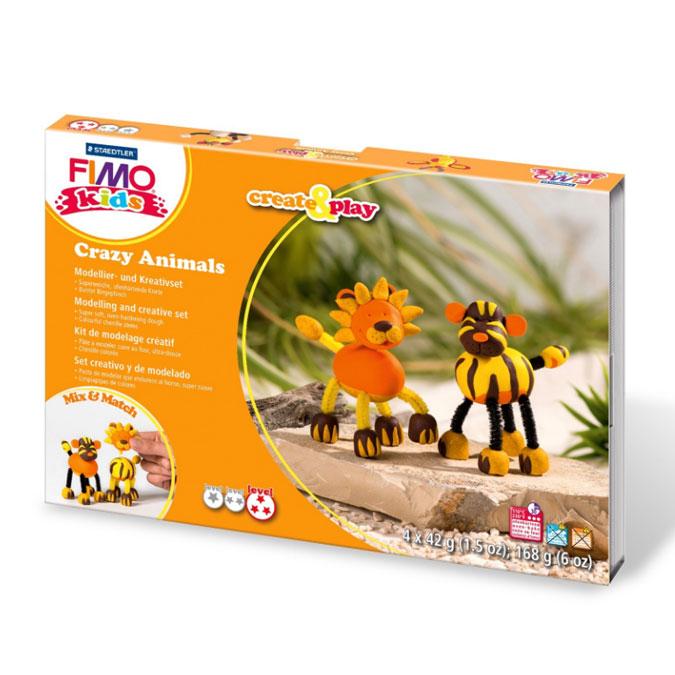 Kit de modelage Create & Play thème Crazy Animals lion et tigre