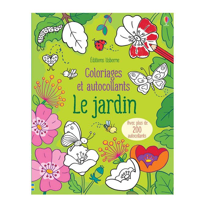 Livre Coloriages et autocollants Le jardin