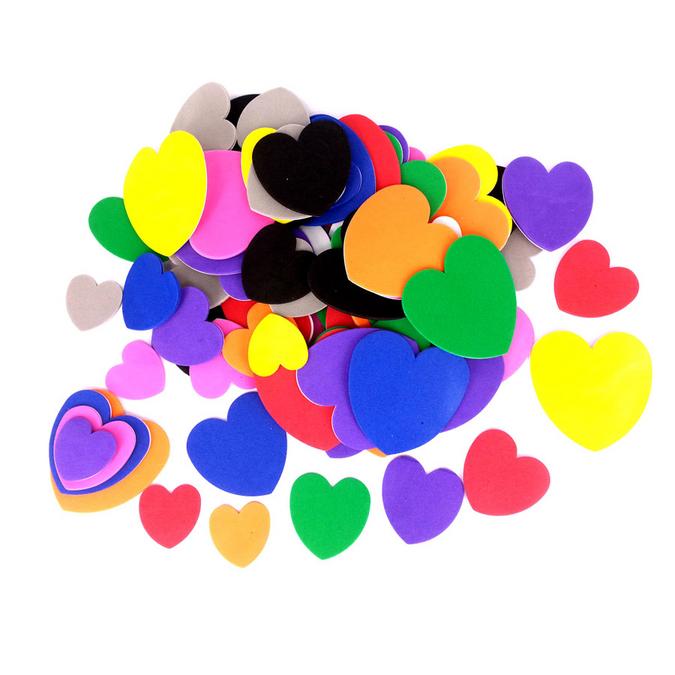 Coeurs en mousse EVA adhésive 2 mm - 200 pcs