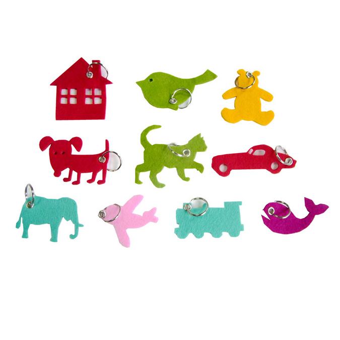 Porte-clefs animaux et objets en feutrine 3 mm - 10 pcs