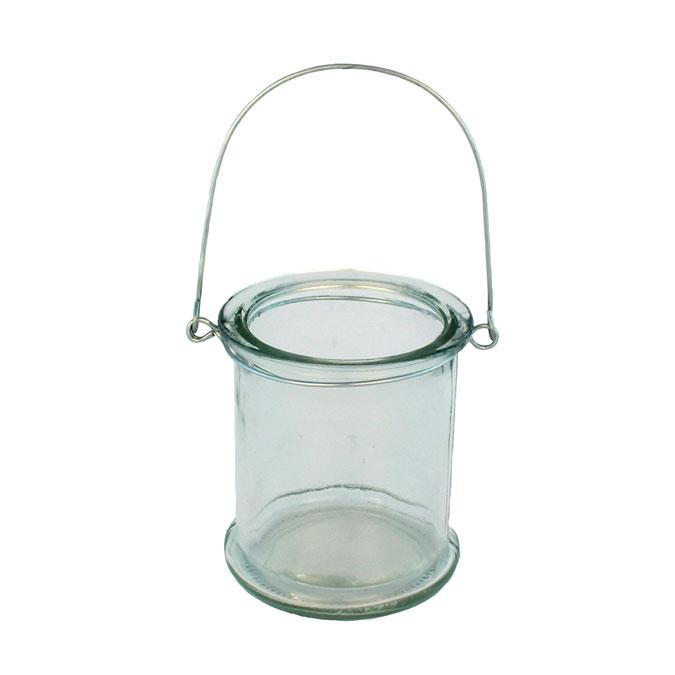 Photophore cylindrique en verre 8,5, x 10 cm
