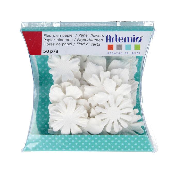 Fleur en papier blanche Florence 50 pcs