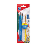 Pinceaux scolaires 3 tailles rondes + 1 brosse plate