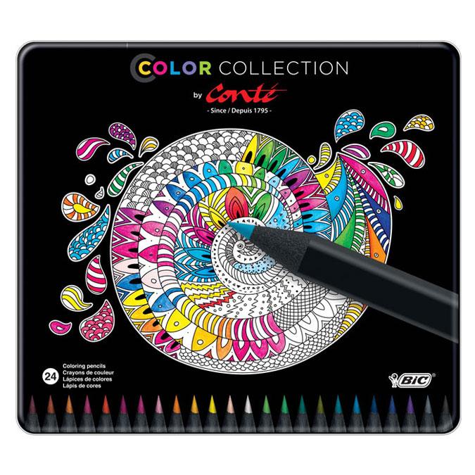 Crayon de couleur Color Collection - 24 couleurs en boite métal