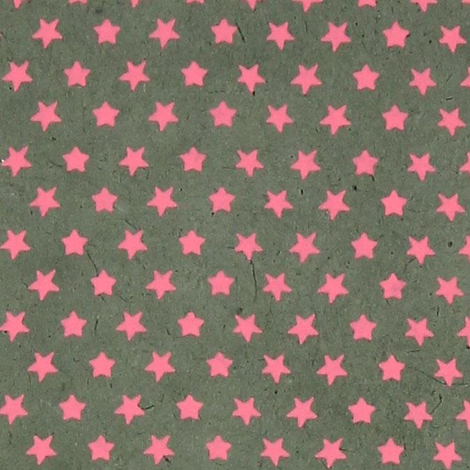 Papier Lokta Imprimé 50 x 75 cm Gris motif Étoile rose