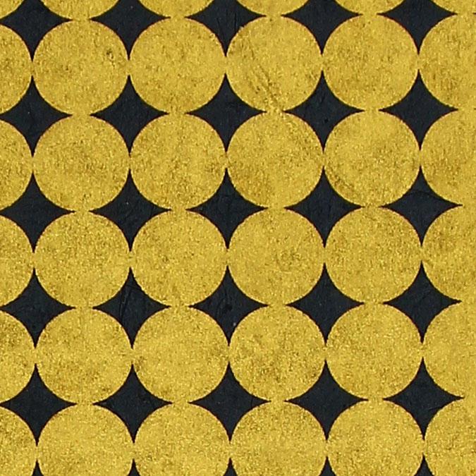 Papier Lokta Imprimé 50 x 75 cm Gris foncé motif Rond or