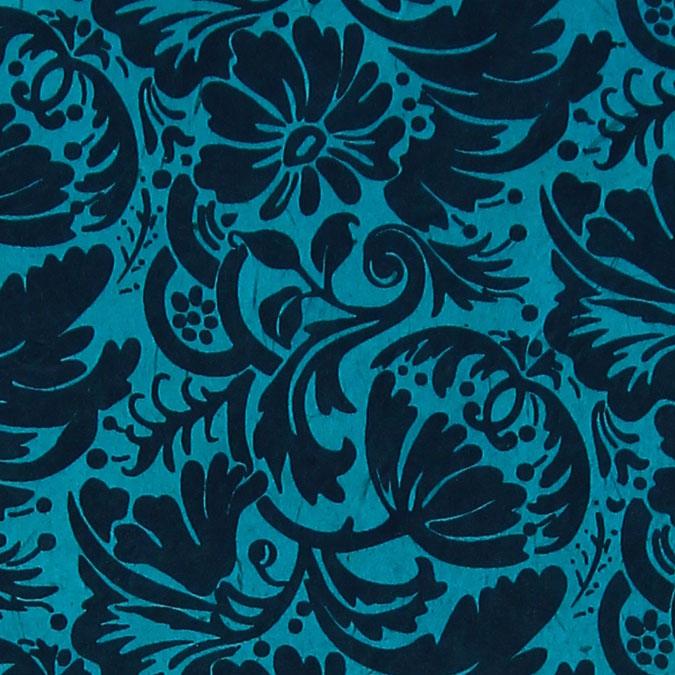 Papier Lokta Imprimé 50 x 75 cm Bleu motif Grenade