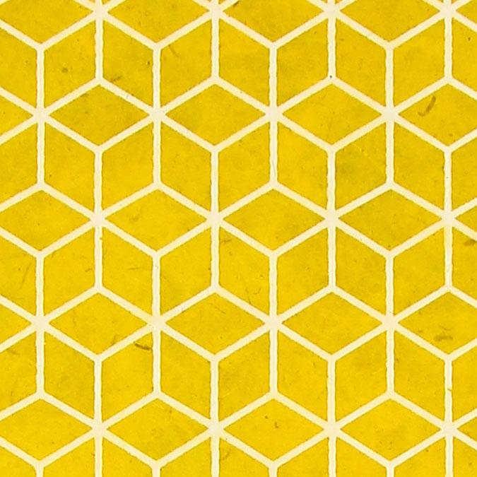 Papier Lokta Imprimé 50 x 75 cm Jaune motif Bain-douches