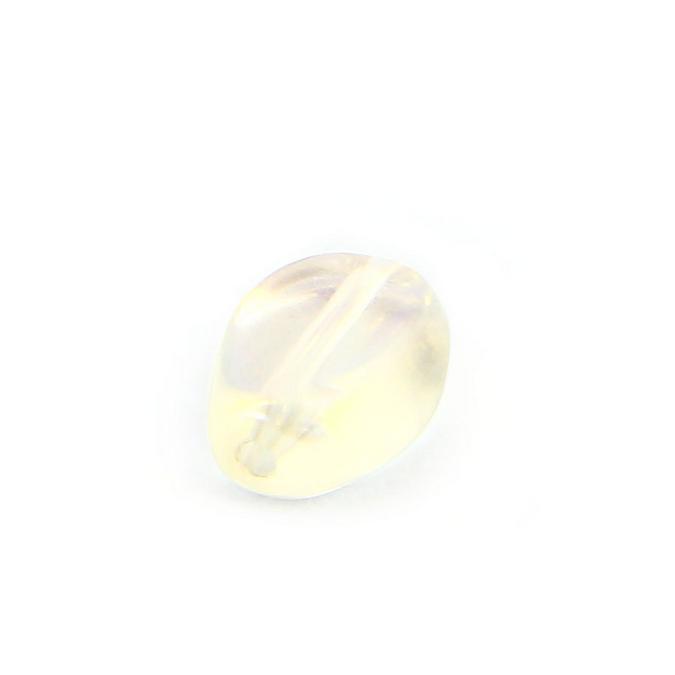 Perle en verre reflet ovale parme transparent - 8 x 11 mm