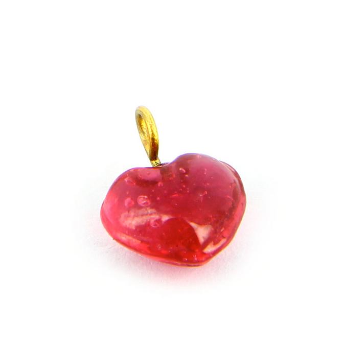 Breloque en verre cœur rose transparent cœur - 11 mm