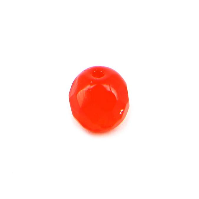 Perle ovale verre transparent facettes rouge siam brillante - 7,5 x 8,5 mm