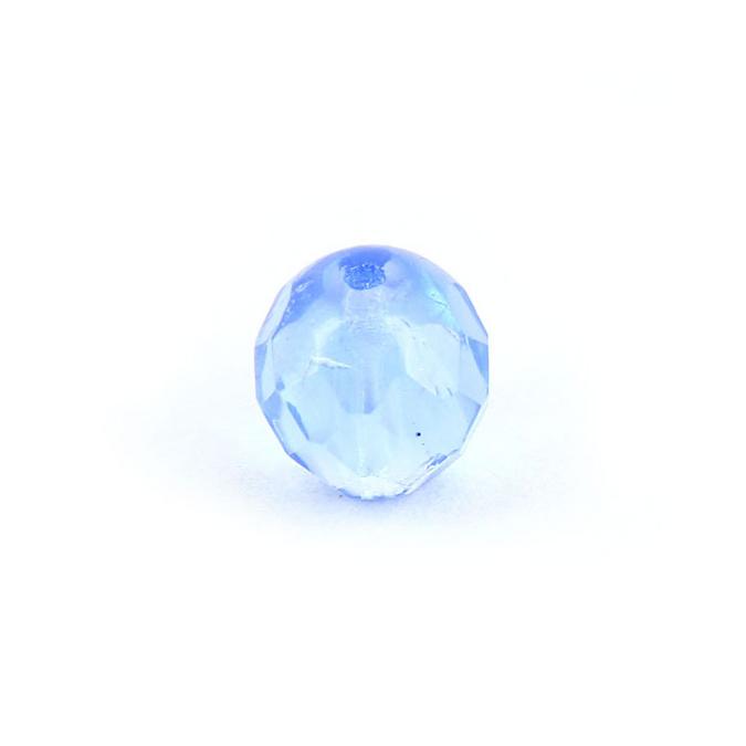 Perle en verre ovale facettes bleu saphir - 9 x 10 mm