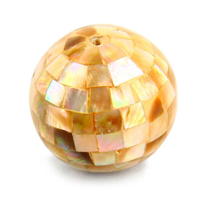Perle en résine ronde incrustée mosaïque nacre lin - 25 mm