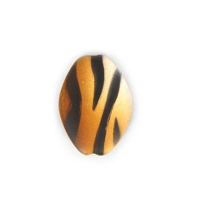 Perle synthétique ovale plate zèbre marron - noir - 19 x 25,8 mm