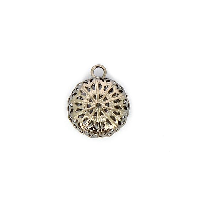 Pendentif en métall dentelé avec anneau argent vieilli - 16,2 x 19,5 mm