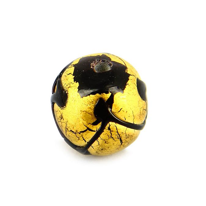 Perle en verre ronde motif noir - or - 16 mm