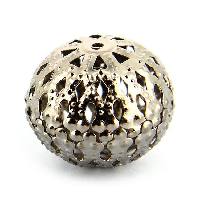 Perle en métal ronde filigranée argent vieilli - 19 mm