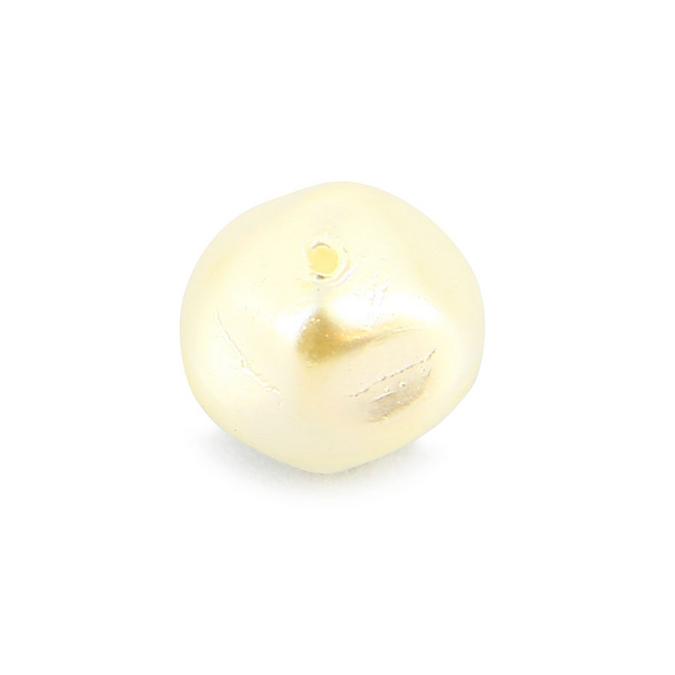 Perle en résine nacrée toupie blanche - 10 mm
