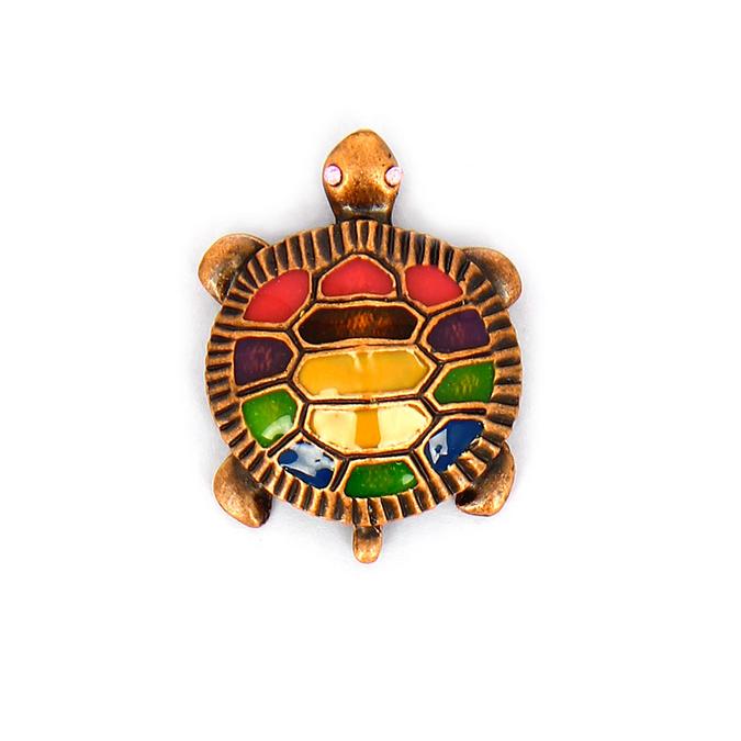 Pendentif en métall tortue face émaillée couleurs avec anneau cuivre - 37 mm