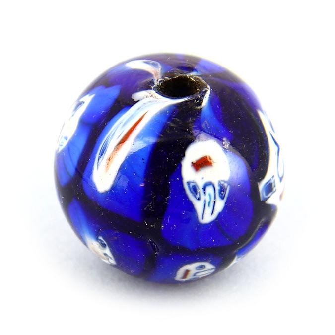 Perle en verre ronde motif visage bleue - 21 mm