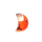 Perle en nacre lune marron orange - 15 x 23 mm