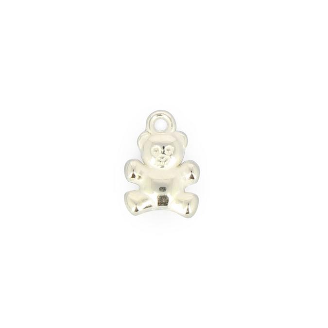 Perle ourson synthétique avec anneau argent brillant - 10 x 15,8 mm
