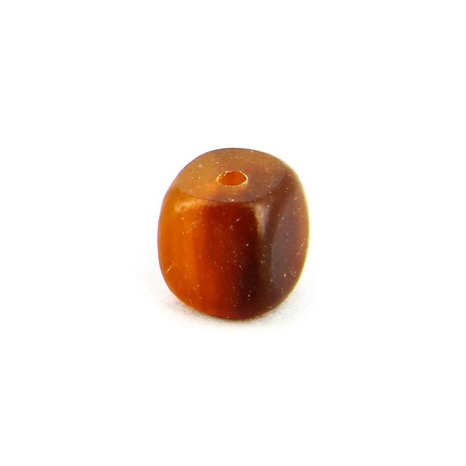 Perle corne carrée irrégulire ambre - marron - 7 mm