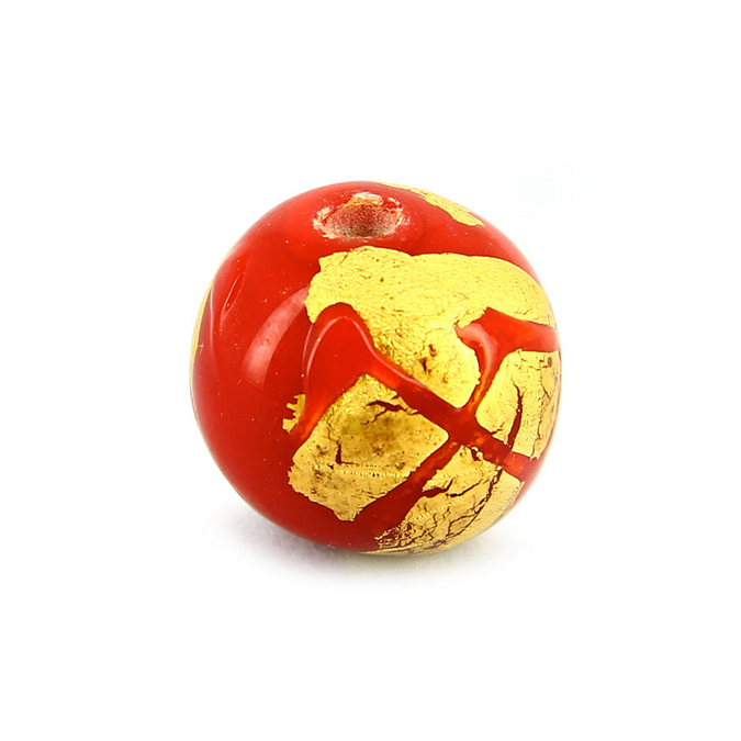 Perle en verre ronde rouge - or - 15 mm