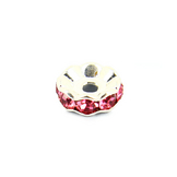 Perle intercalaire ronde strass argent - rose - 10 mm