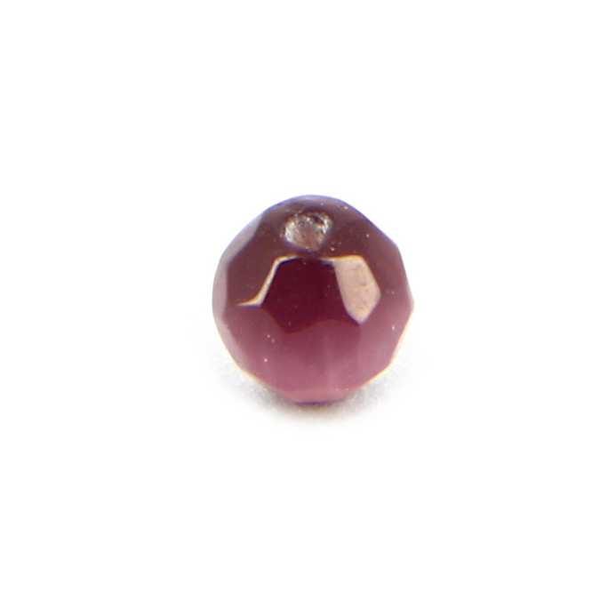 Perle en verre œil de chat ronde à facettes violette - 6 mm