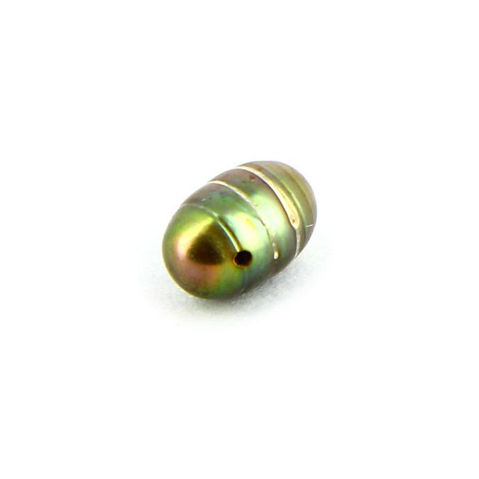 Perle d'eau douce goutte olive verte trou horizontal - 5 x 6,6 mm