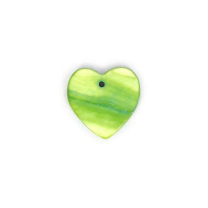 Perle en nacre cœur vert anis - 17,5 mm