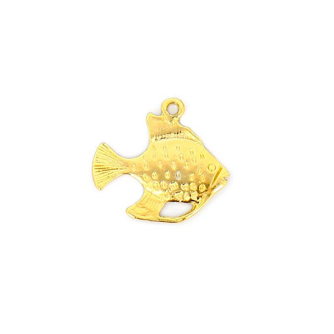 Breloque en métal poisson avec anneau or - 23 x 26 mm