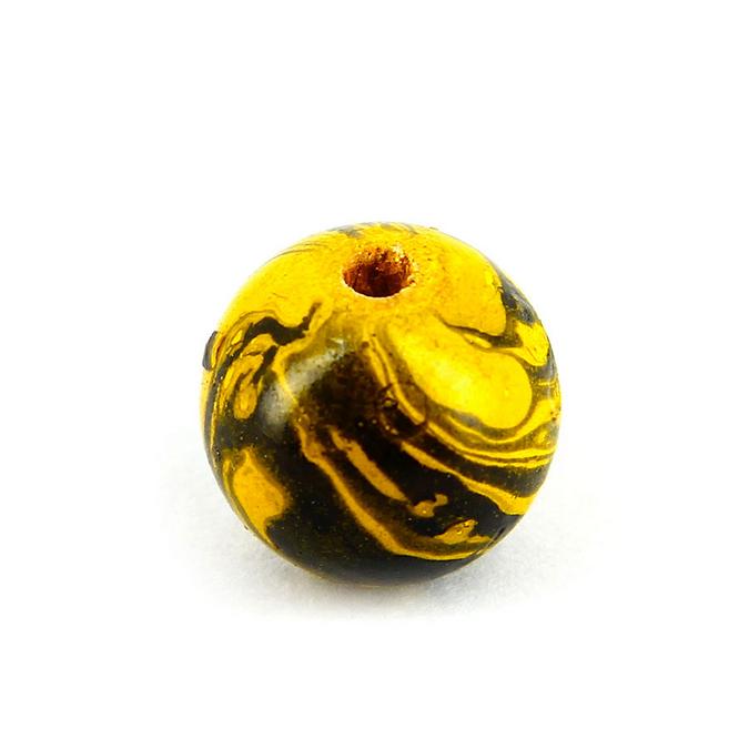 Perle en bois peinte marbrée ronde jaune - noir - 16 mm