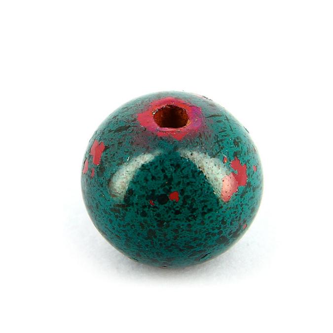 Perle en bois peinte effet tâches ronde rouge marbré - 18 mm