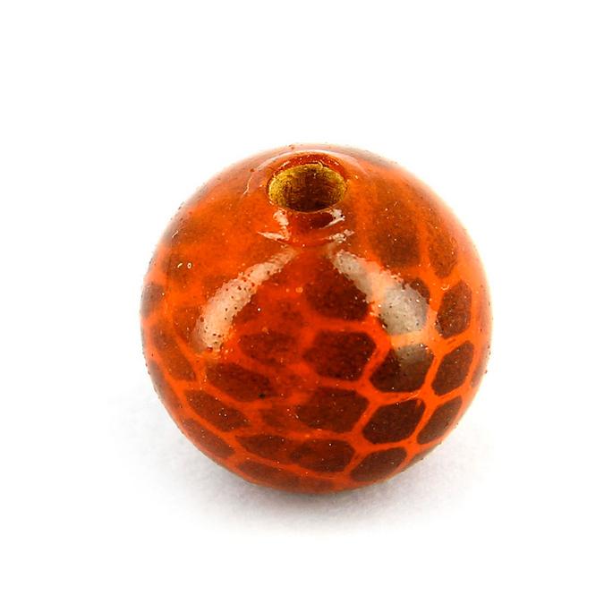 Perle en bois peinte effet tâches ronde rouge bordeaux orange - 20 mm