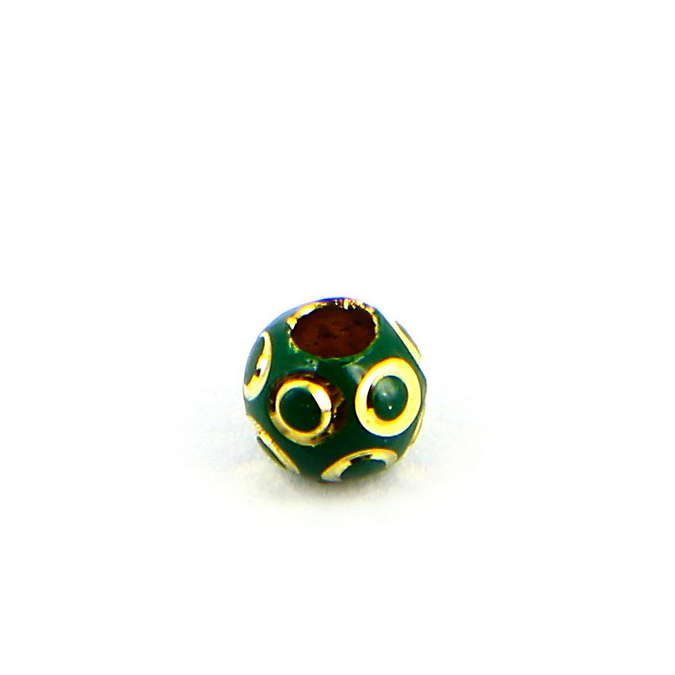 Perle en métal opaque cercles relief ronde verte foncée - or - 6 mm