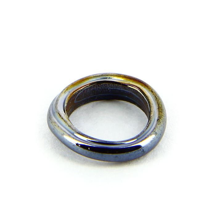 Anneau en verre opaque nacré noir charbon - 15 mm